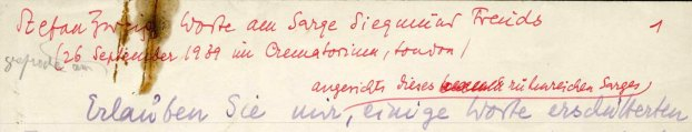 Fragment of Freud eulogy by Zweig